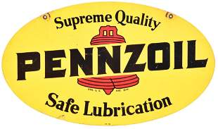 Pennzoil w/Red Bell Safe Lubrication Metal Sign