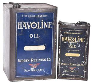 Havoline Oil Indian Refining Co. One & Five Gallon