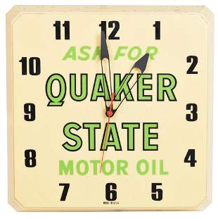 Ask for Quaker State Motor Oil Plastic Lighted Clock