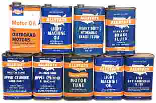 9-Allstate One Quart Flat Metal Cans