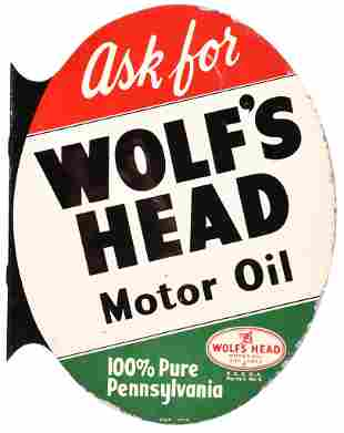 Ask for Wolf's Head Motor Oil w/Logo Metal Sign