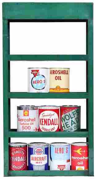 Quaker State Metal Oil Can Rack w/9 Quart Oil Cans