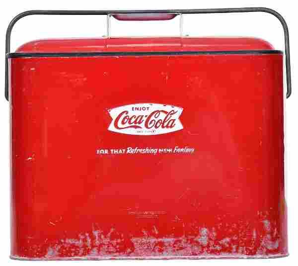 Enjoy Coca-Cola in Fish Tail Logo Metal Cooler