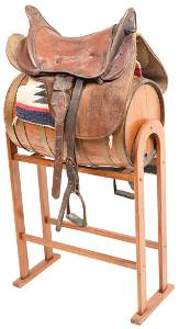 Mid 1800's Officers Military Saddle With Brass Trim