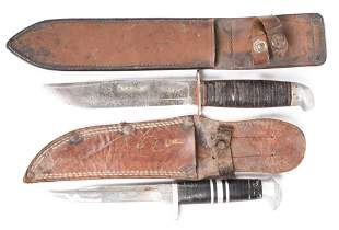 Lot Of 2 Knives With Leather Sheaths