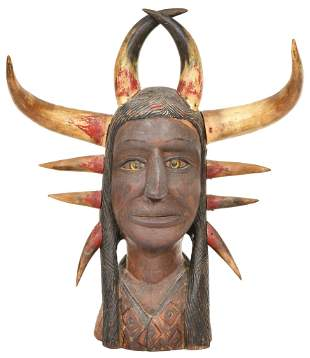 Native American Indian Horn Statue