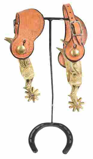 Bronze, Engraved, Mexican Spurs