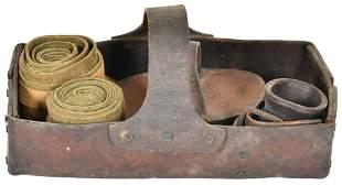 Vintage U.S. Calvary Ferrier's Leather Tray Basket