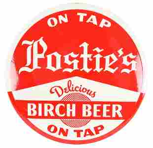 """Postie's Delicious Birch Beer """"On Tap"""" Celluloid Button"""