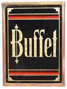 Buffet Reverse Painted Glass Corner Sign