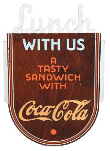 """Coca-Cola """"Lunch With Us"""" Wood Kay Display Sign"""