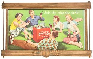 """Drink Coca-Cola """"Join The Friendly Circle"""" Cardboard"""