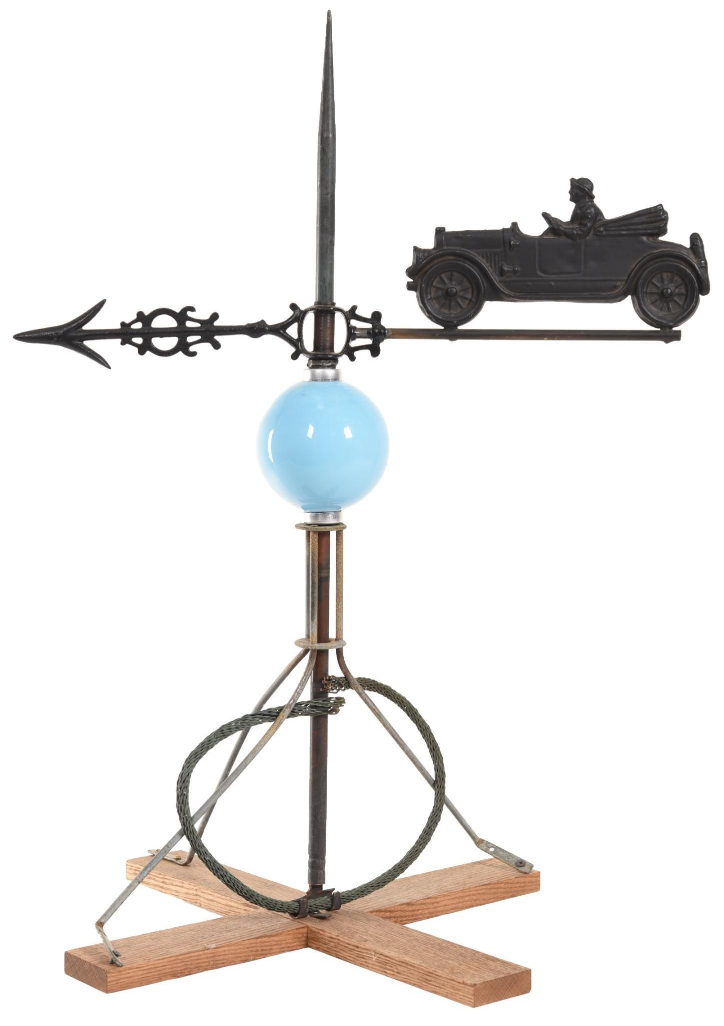 Small Open Car With Male Driver Weathervane
