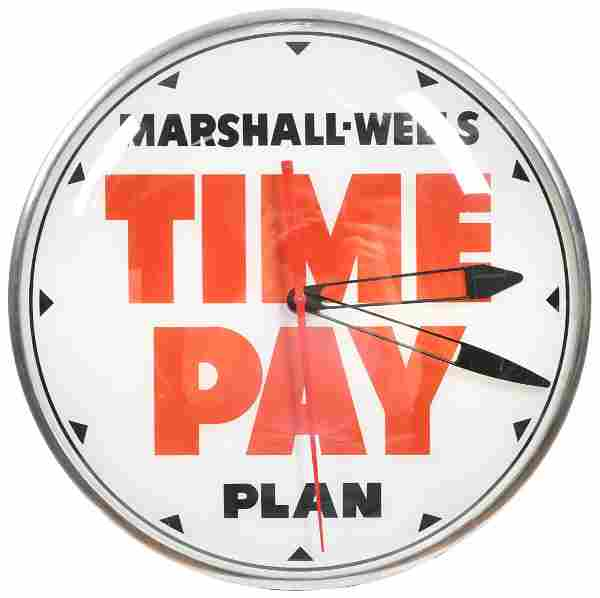 Marshall-Wells Time Pay Plan Lighted Clock