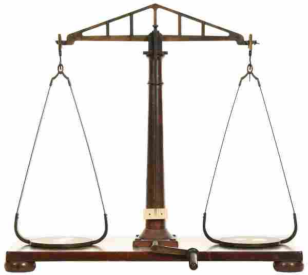 Henry Troemner Brass Balance Scale on Wood Platform