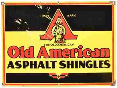 Old American Asphalt Shingles w/Indian Logo Porcelain