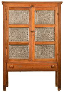 Six Panel Punched Tin Pie Safe