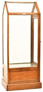 Oak V-Top Floor Model Display Case