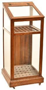 Oak Umbellar/Cane Slant Front Store Display Cabinet