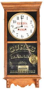 "Reed's Tonic ""Gilt Edge"" Oak Regulator Clock Baird"