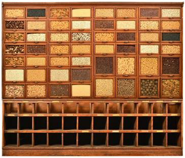 Large Oak Warren Dry Goods Store Display Cabinet