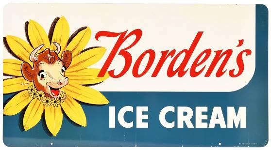 Borden's w/Elsie Ice Cream Metal Sign
