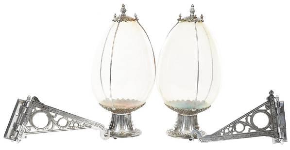 2-Large Glass Apothecary Tear Drop Jars w/Ornate