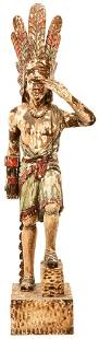 Old Wooden Cigar Store Indian w/Full Head Dress
