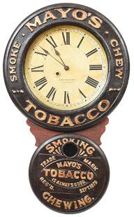 Mayo's Tobacco Smoke Chew Wooden Advertising Clock