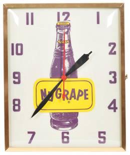NuGrape w/Bottle Lighted Metal Clock