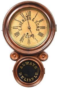 Eavenson & Sons Soap Double Round Wood Case Clock