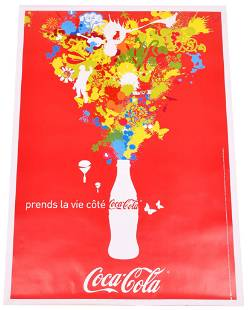 Large Coca-Cola 2006 Poster Mounted on Linen