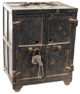 Small Cast Iron Strong Box w/Front Doors