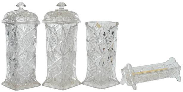 Lot Of 4 Pressed Glass Jars And Straw Holder
