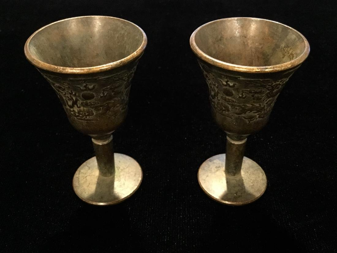 CHINESE BRONZE CENSER CUPS MARKED - 2