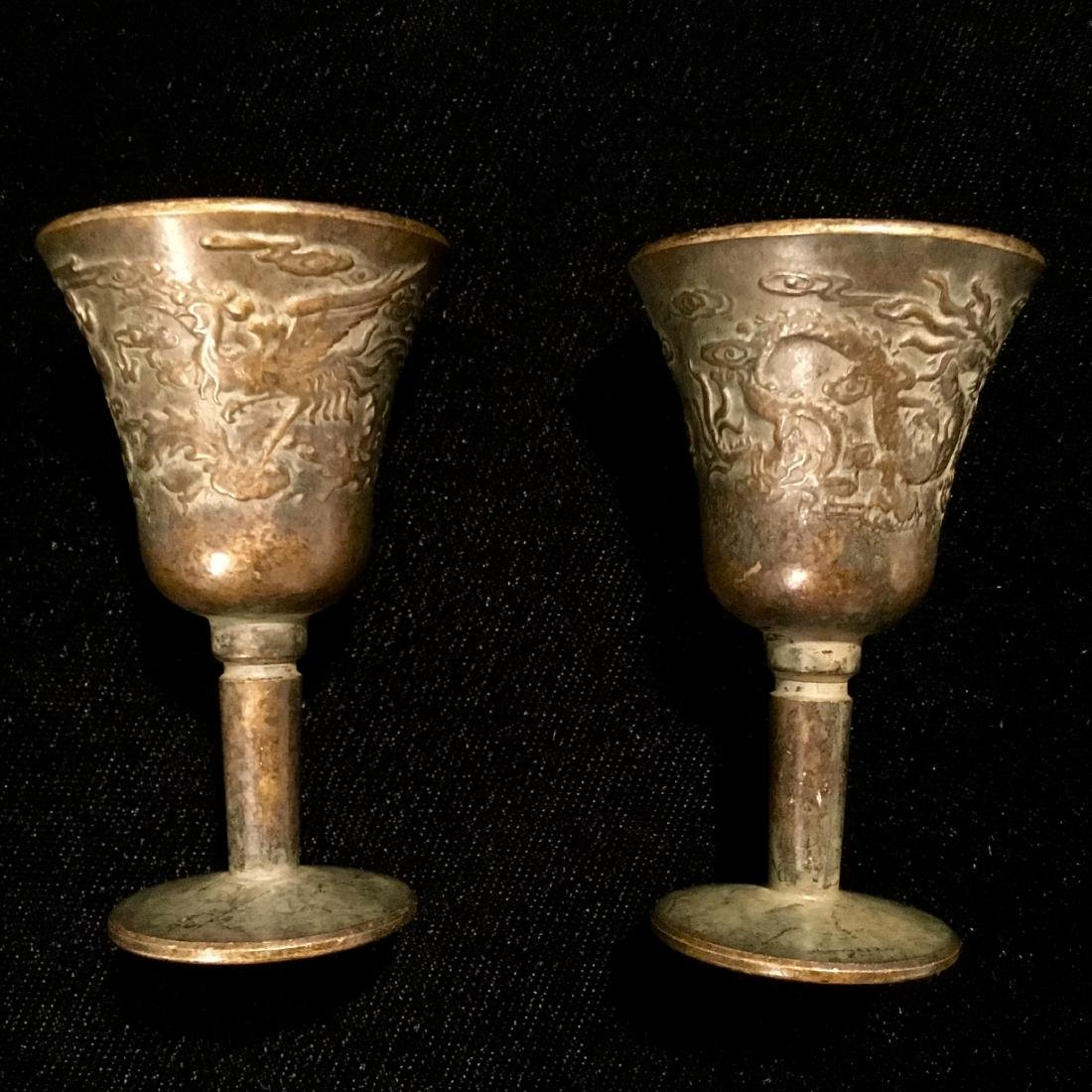 CHINESE BRONZE CENSER CUPS MARKED - 6