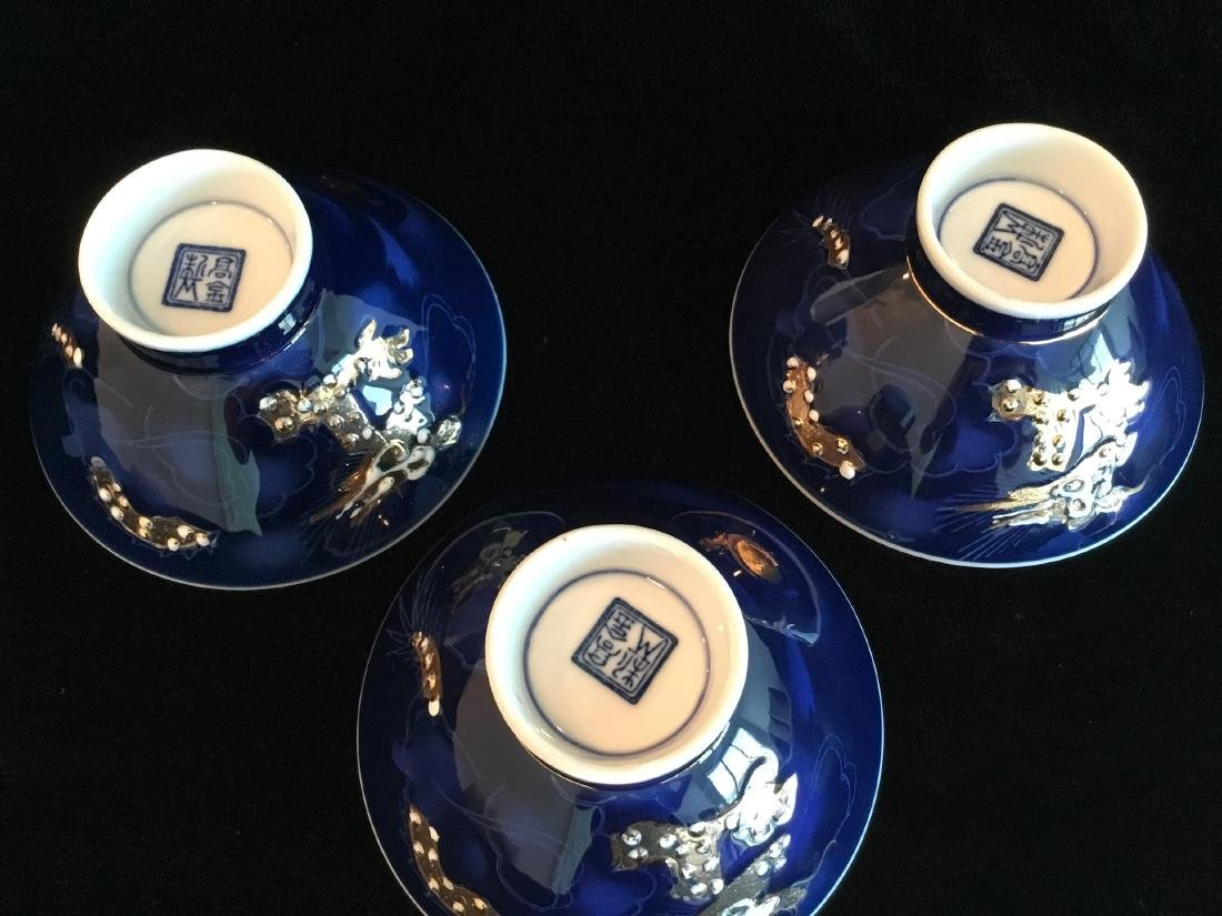 CHINESE BLUE PORCELAIN RICE BOWLS MARKED