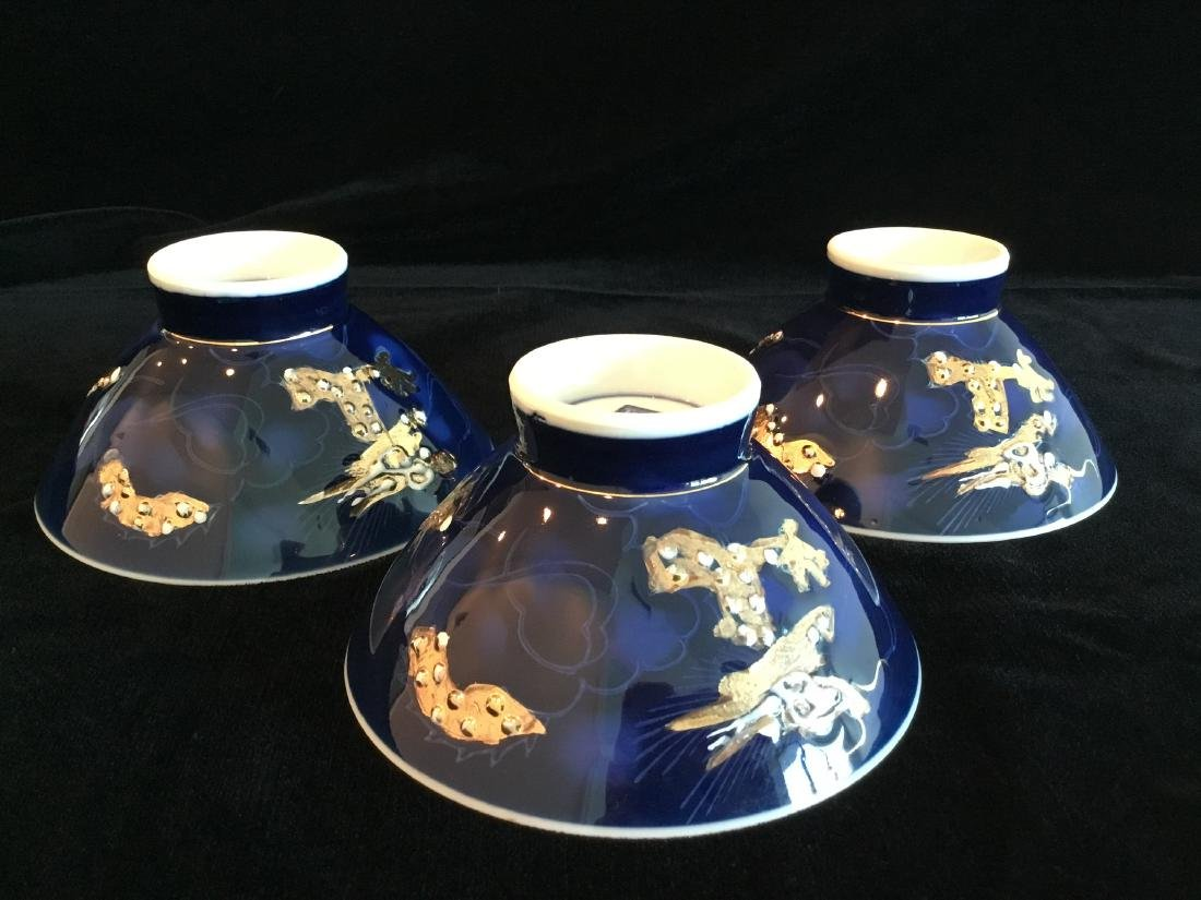 CHINESE BLUE PORCELAIN RICE BOWLS MARKED - 2