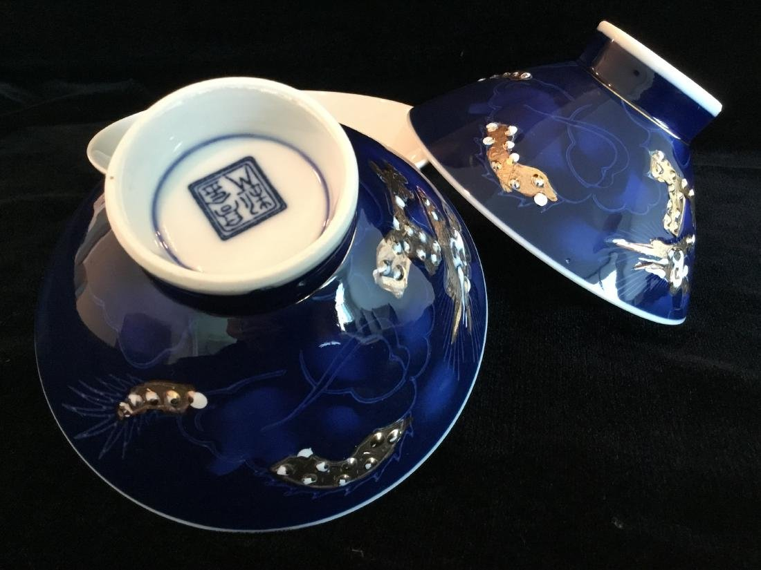 CHINESE BLUE PORCELAIN RICE BOWLS MARKED - 4