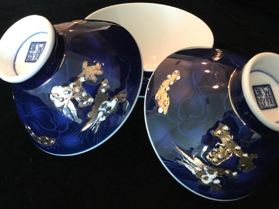 CHINESE BLUE PORCELAIN RICE BOWLS MARKED - 6