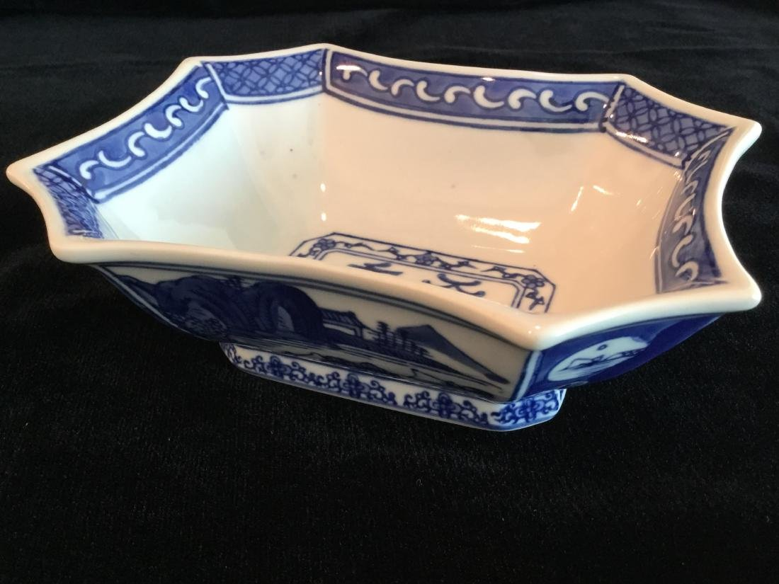 CHINESE BLUE AND WHITE PORCELAIN BOWL MARKED - 4