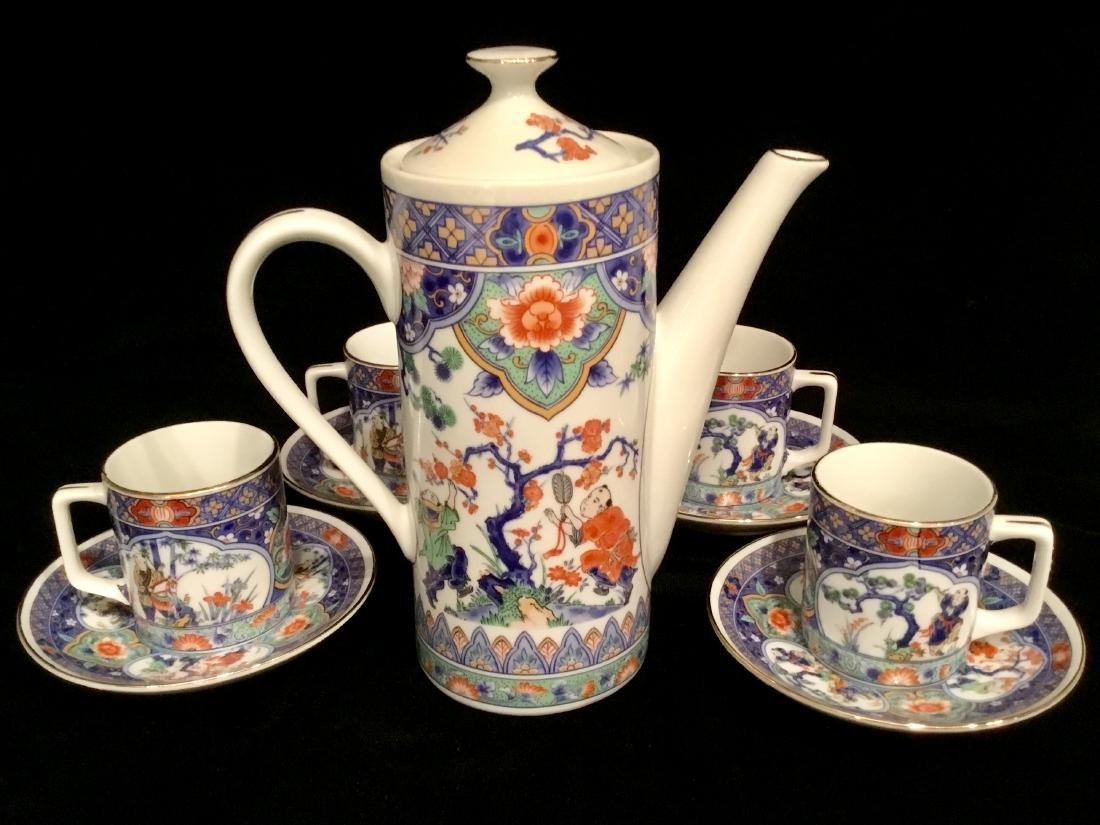 ASIAN CERAMIC TEA SET MARKED - 6