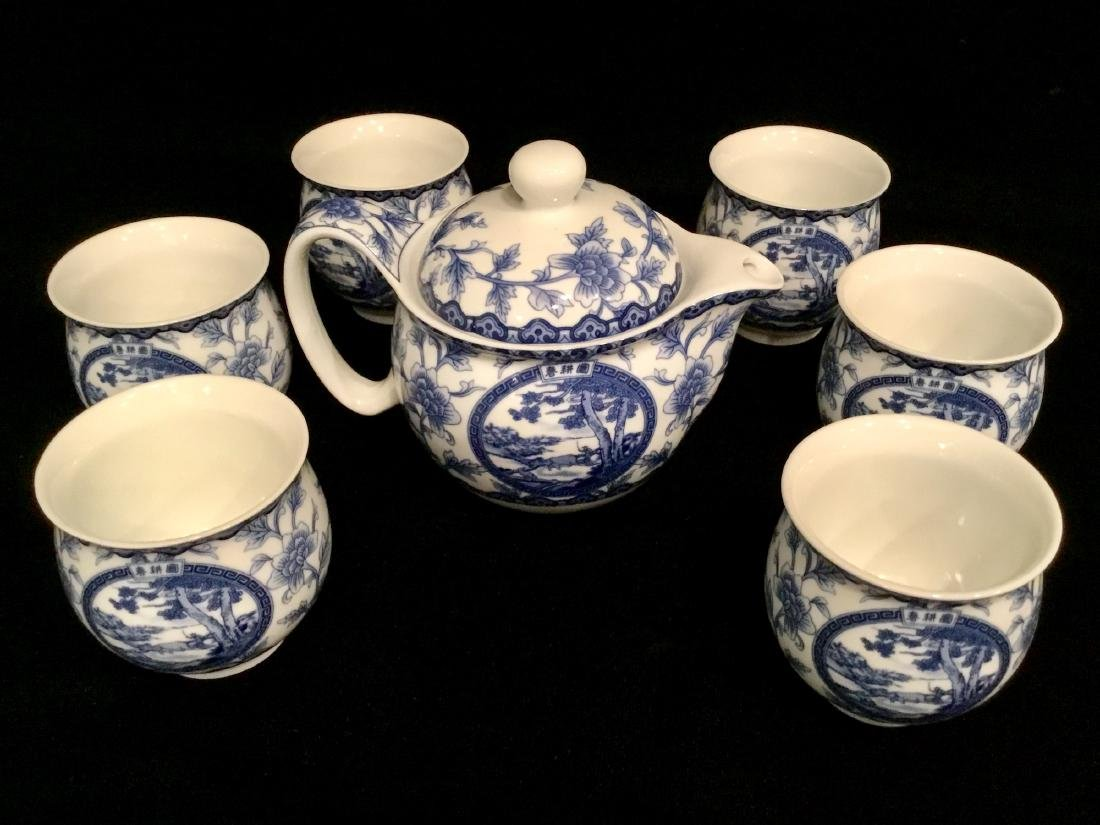 CHINESE WHITE AND BLUE CERAMIC TEA SET MARKED