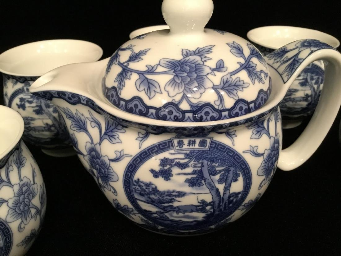 CHINESE WHITE AND BLUE CERAMIC TEA SET MARKED - 4