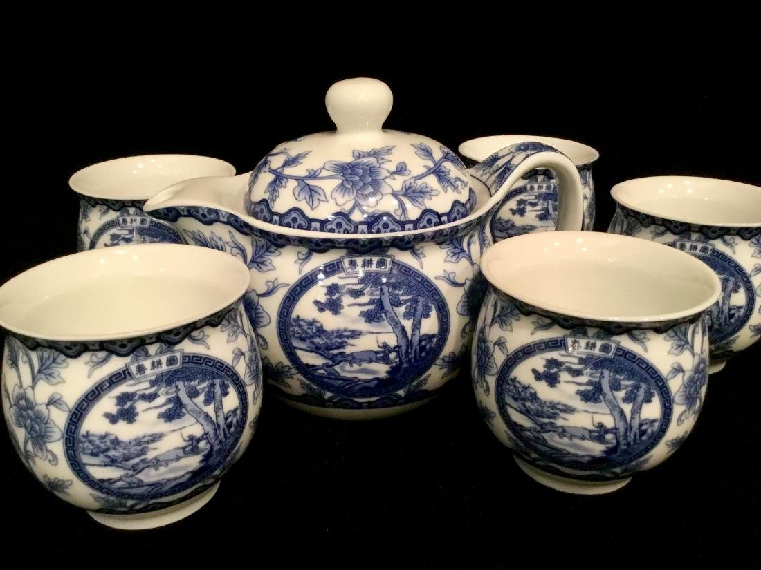 CHINESE WHITE AND BLUE CERAMIC TEA SET MARKED - 6