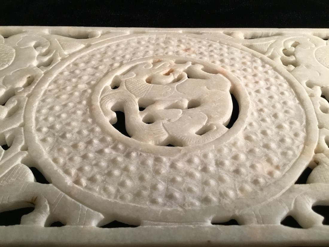 CHINESE WHITE JADE CARVED PANEL - 4