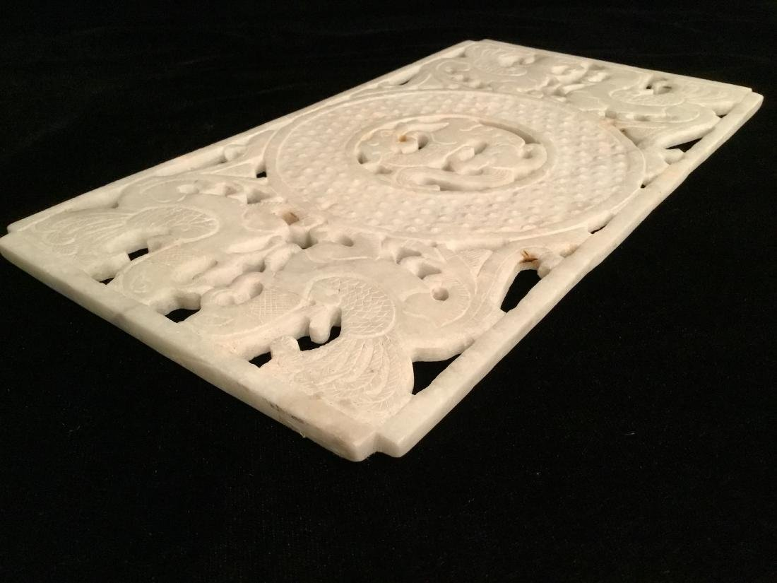 CHINESE WHITE JADE CARVED PANEL - 6