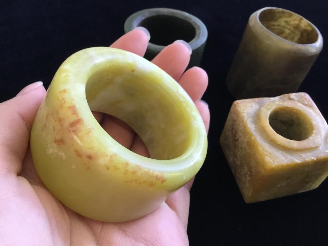CHINESE JADE LOT RINGS AND CONG - 3