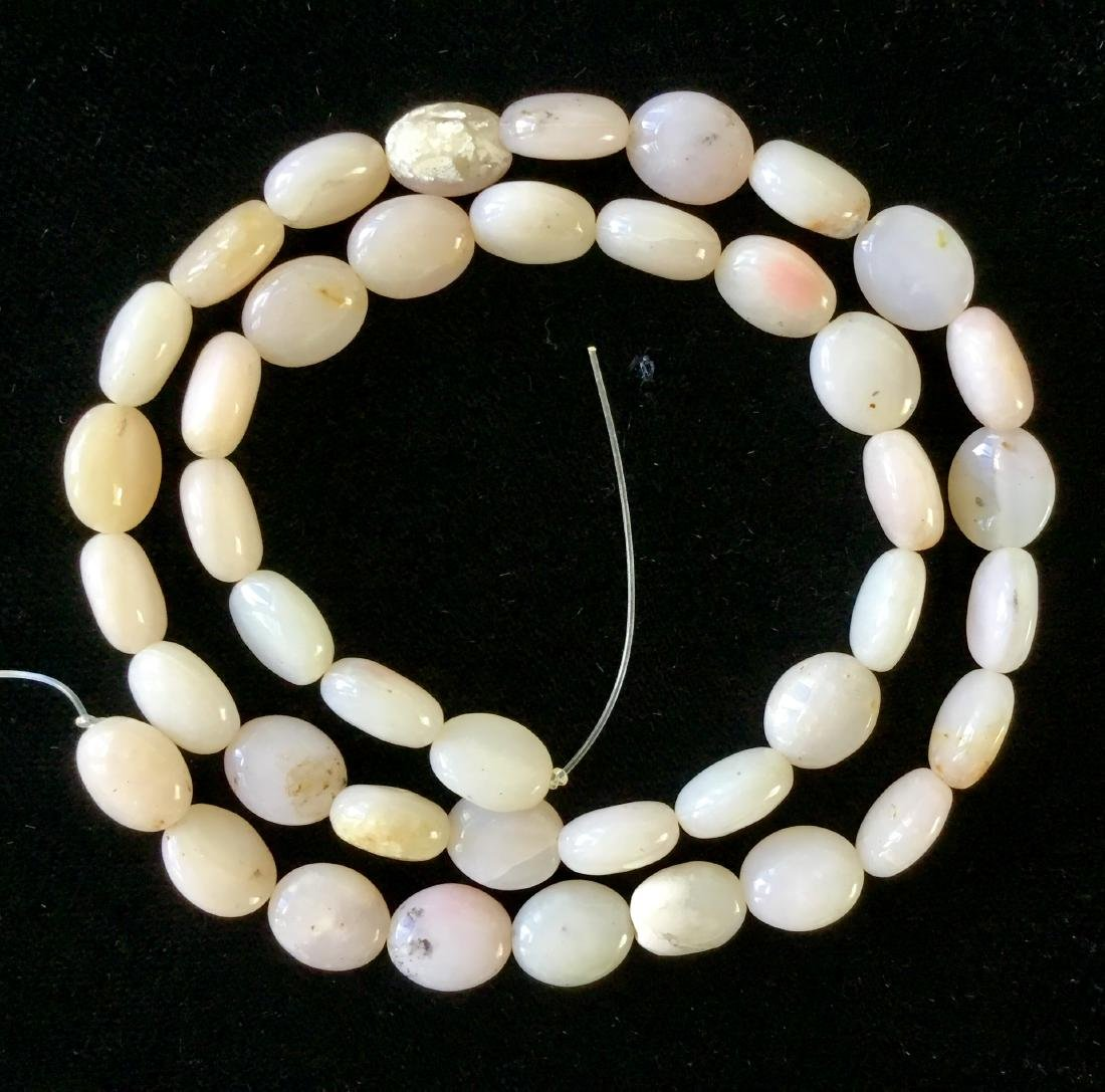 PALE PINK AGATE BEADS STRAND