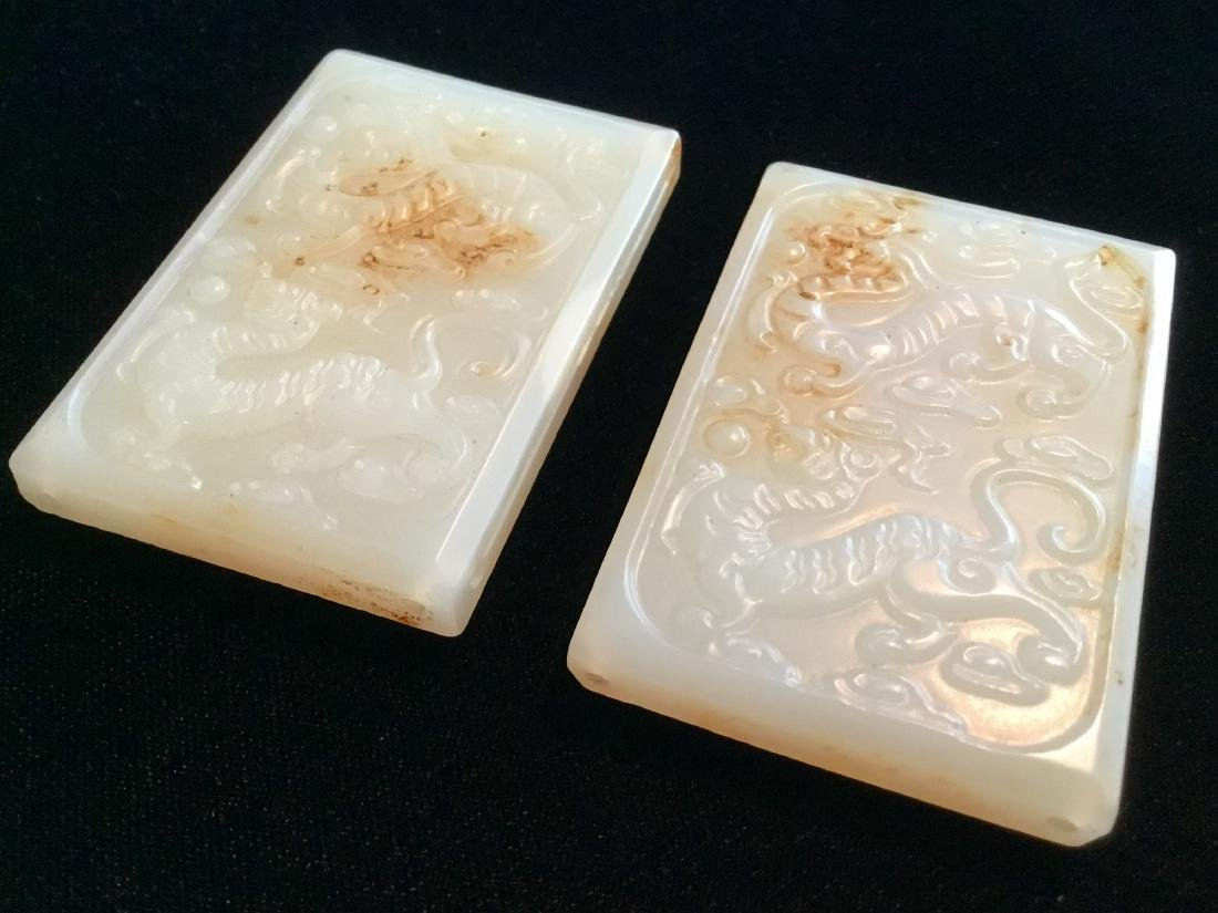 TWO CHINESE WHITE JADE BELT PLAQUES - 2